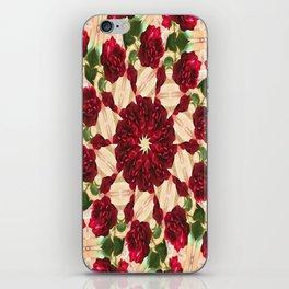 Old Red Rose Kaleidoscope 9 iPhone Skin