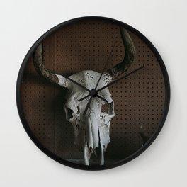 Long Horn Skull Wall Clock