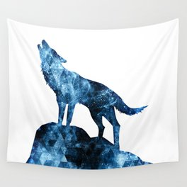 Howling Wolf blue sparkly smoke silhouette Wall Tapestry