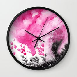 Abstract pink black watercolor paint Wall Clock
