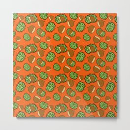 Chestnut and Chestnut Cupule Pattern Metal Print