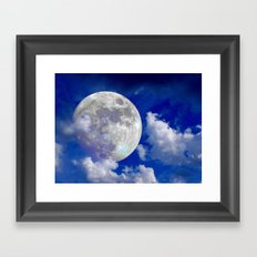 Fullmoon in clouds Framed Art Print