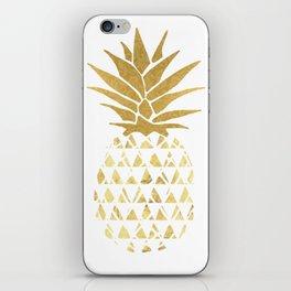 white & gold pineapple iPhone Skin