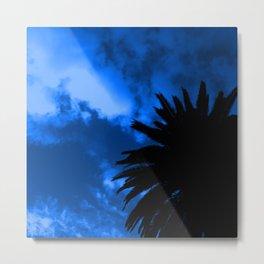 Palm Tree Silhouette - Blue Sunset Metal Print