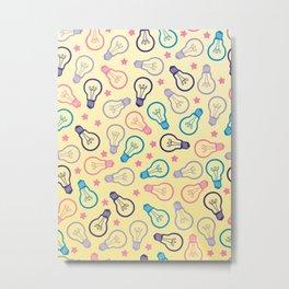 Cute Pastels Light bulb Pattern Metal Print