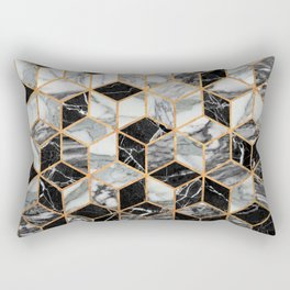 Marble Cubes - Black and White Rectangular Pillow