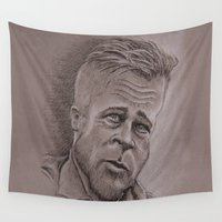 brad pitt Wall Tapestries featuring Brad by chadizms