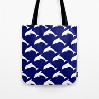 dolphins Tote Bags featuring Dolphins by The Wellington Boot