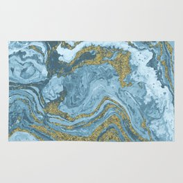 Gold Waves on Blue Rug