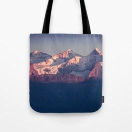 Three Peaks in Violet Sunset Tote Bag