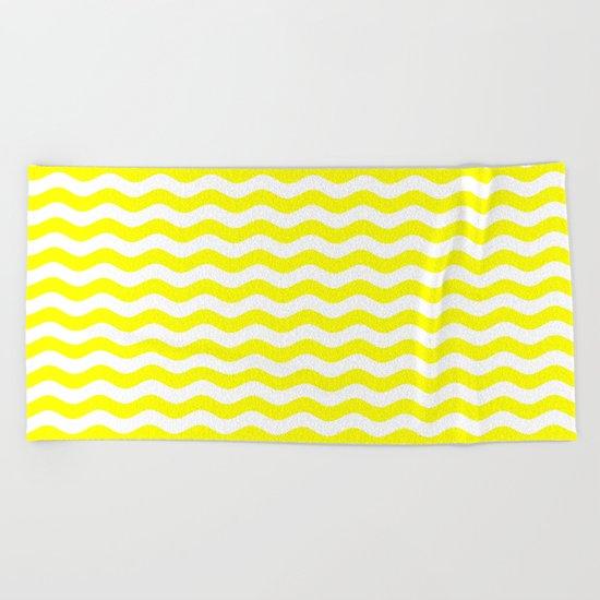 Wavy Stripes (Yellow/White) Beach Towel