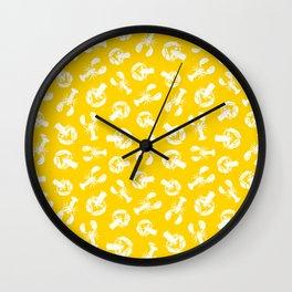 Lobsters Coastal Pattern Wall Clock