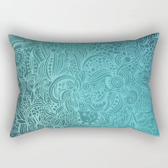 Detailed zentangle square, blue colorway Rectangular Pillow