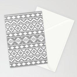 Aztec Essence Ptn III White on Grey Stationery Cards