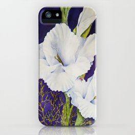 GLAMOROUS GLADIOLAS in WATERCOLORS iPhone Case