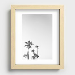 Black and White California Palms Recessed Framed Print