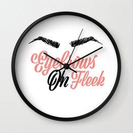 Eyebrows on Fleek Pink and Black Wall Clock