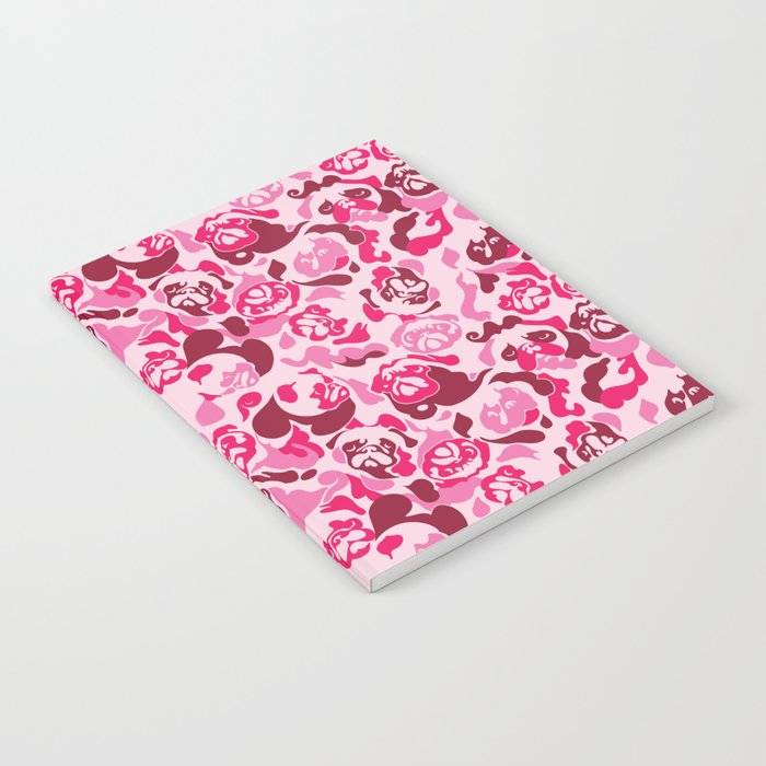 Pug Camouflage Pink Notebook