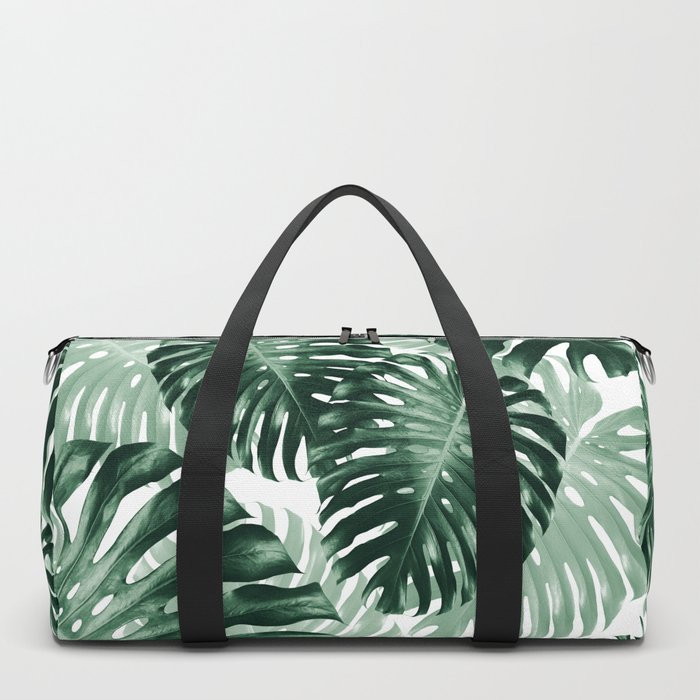 Tropical Monstera Jungle Leaves Pattern #1 #tropical #decor #art #society6 Duffle Bag