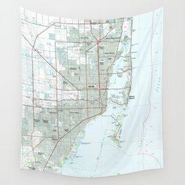 Miami Florida Map (1981) Wall Tapestry