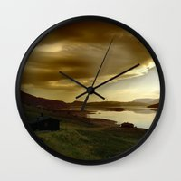 norway Wall Clocks featuring Norway by Sushibird