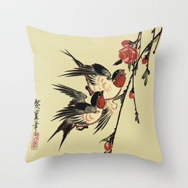 Moon Swallows and Peach Blossoms Throw Pillow