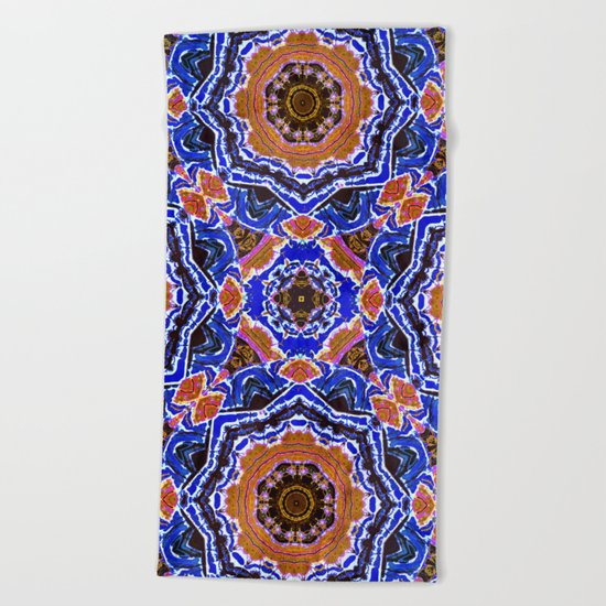 Tiled Kaleidoscope Mandalas Beach Towel