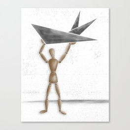 Man With Triangles - Grey Canvas Print