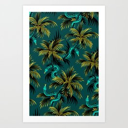 Snake Palms - Dark Teal Mustard Art Print