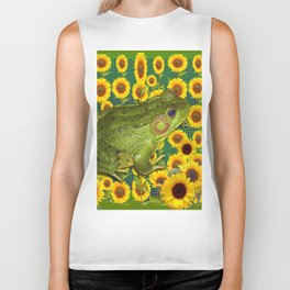 AVOCADO GREEN BOG FROG & YELLOW FLOWERS Biker Tank