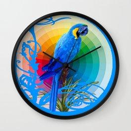 DECORATIVE CERULEAN BLUE MACAW  COLORFUL ART Wall Clock