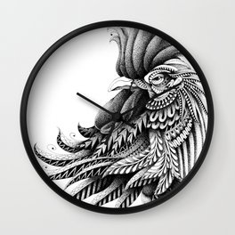 Ornately Decorated Rooster Wall Clock