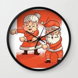Mr. Santa and Mrs. Claus Dancing Christmas Celebration Wall Clock
