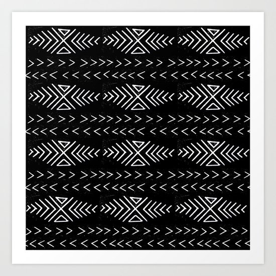 mudcloth 4 minimal textured black and white pattern home decor minimalist Art Print