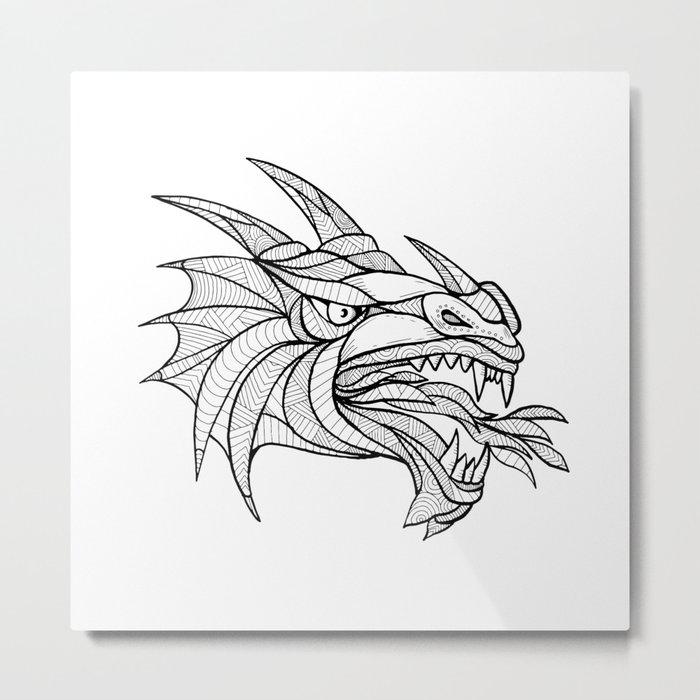 Dragon Head Zentagle Metal Print