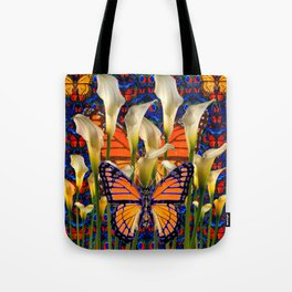 DECORATIVE WHITE CALLA LILIES & MONARCH BUTTERFLY GARDEN COLLAGE Tote Bag