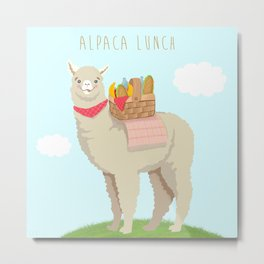 Alpaca Lunch Metal Print