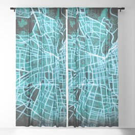 SANTIAGO, CHILE, Blue, White, Neon, Glow, City, Map Sheer Curtain