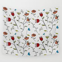 spice Wall Tapestries featuring Floral Spice by Itaya Art