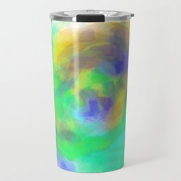 splash painting texture abstract in green blue yellow Travel Mug