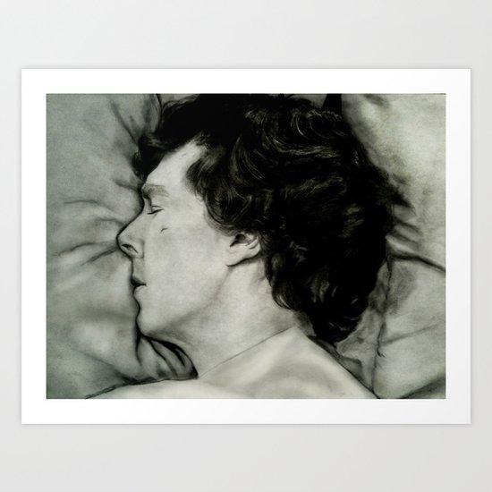 Sherlock Asleep - Pencil and Charcoal Art Print