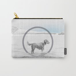 dog wading in fjord Carry-All Pouch