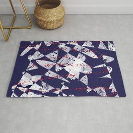 Red White On Blue Abstract Art Rug