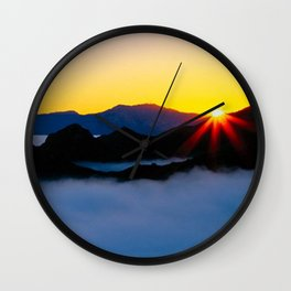 Dawn in the fog covered Santa Monica Mountains, California Wall Clock