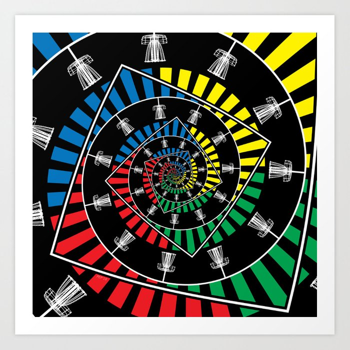 Spinning Disc Golf Baskets Art Print