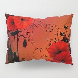 Poppy flowers, sunset Pillow Sham