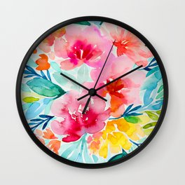 Neon Floral Wall Clock