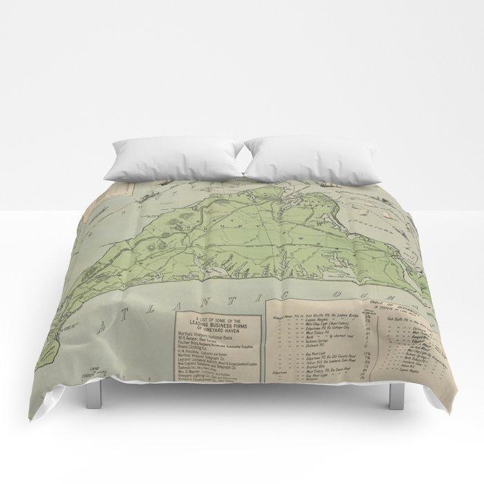 Vintage Map of Marthas Vineyard (1913) Comforters