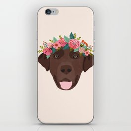 Chocolate Lab floral crown dog breed pet art labrador retrievers dog lovers giftsChocolate Lab flora iPhone Skin