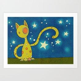 Olive the Starry Cat Art Print